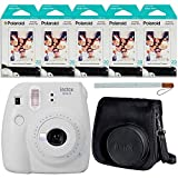 Fujifilm Instax Mini 9 Instant Camera (Smokey White), Groovy Case and 5X Twin Pack Instant Film (100 Sheets) Bundle