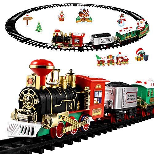 Toyvian Weihnachtsbahn Zug Gesetzt mit Lichtern...