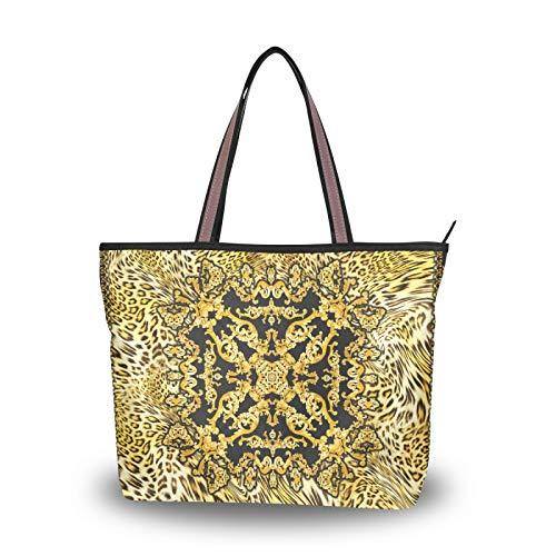 NaiiaN Bolsos Bolso de mano para madre Mujeres Niñas Señoras Estudiante Correa liviana Estampado de leopardo dorado Moda retro Vintage Bolsos de hombro Monedero Compras