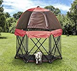 Carlson 6-Panel Foldable and Portable Steel Pet Exercise and Play Pen, Indoor and Outdoor, with Carrying Case and Full UV Canopy
