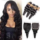 ALLRUN 10A Loose Wave 3 Bundles with Closure Brazilian Virgin Human Hair Bundles with 4x4 Free Part Closure Unprocessed Virgin Human Hair Natural Black (14 16 18+12closure)