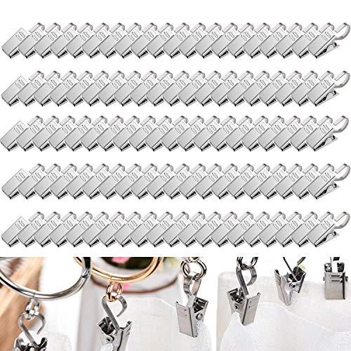 ZAWTR 100 Stück Edelstahl Metall Vorhang Clips mit Haken, Silber Gardinen Klammer für Duschvorhang, Hängende Gardinen/Vorhänge und Gardinenringe, Fotos, Haus Dekoration