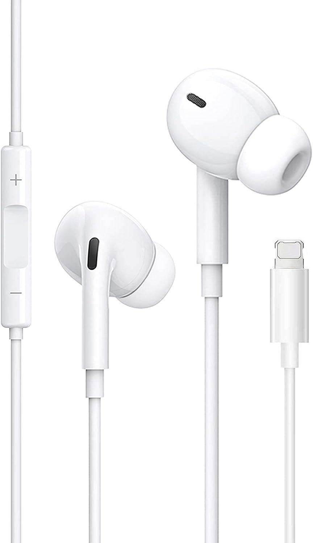 ZHENQI Auriculares Cascos para iPhone 12,In Ear Resistentes al Sudor,Cascos con Cancelación de Ruido,Auriculares con Micrófono y Control de Volumen Compatible Cascos de iPhone 7/8 Plus/11/XR/X/XS
