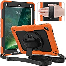 Timecity Case Compatible with iPad 6th/5th Generation,9.7 Inch 2018/2017 Case with Rotating Stand/Strap Full-Body Hybrid Armor Rugged Durable Protective Case for iPad 5th/6th / Air 2/ Pro 9.7 Orange