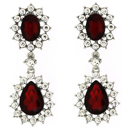 Clip On Earrings Store Victorian Ruby Red Crystal Double Drop Clip on Earrings