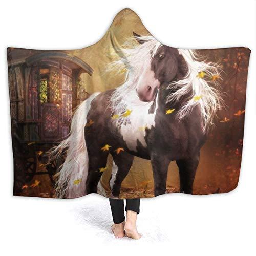 Qasde Flanell-Decke mit Hut, Gypsy Gold – Gypsy Vanner Pferdereise, Einzelgröße 152,4 cm x 50 Fleece-Bettüberwurf, warm, weich, wendbar, flauschig, Flanell, solide Decke für Bett und Sofa.