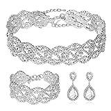 3 Pack Rhinestone Crystal Choker Necklace Link Bracelet Teardrop Dangle Earrings Jewelry Sets for Women Girls, Womens Bridal Wedding Bridesmaid Party Birthday Prom Jewelry Gift.