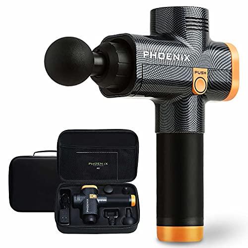 Pistola Massageadora Muscular Phoenix A2 Profissional + Case (Amarelo)