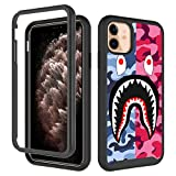 GUGU6JI iPhone 11 Case, Street Fashion for Boys Girls Design Shockproof Rugged Dual Layer Protection Cover Soft TPU + Hard PC Bumper Full-Body Cool Camo Case for iPhone 11 (6.1inch) - Pink Blue Shark