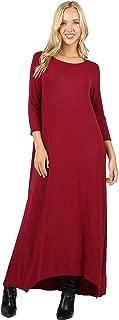 Casual Maxi T-Shirt A-Line Dress for Women: Long Sleeves, Side Pockets, Shark-Bite Hem