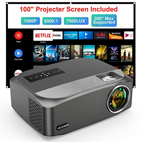 """Video Projector Native 1080P/300"""" Supported, VILINICE Outdoor Projector with 100""""Movie Projector Screen, 100,000h Lamp Life Home Theater Projector Compatible with Phone/TV Stick/PC/PS4/DVD/HDMI/USB"""