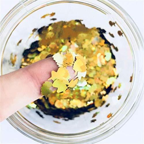 Ultradunne 3D-nagellak 5 * 8mm eenhoorn laser glitter PET pailletten pailletten milieuvriendelijke losse pailletten voor nail art decoratie 8g, laser goud
