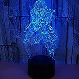 Luz De Noche De Ilusión 3D, Dragon Ball God Goku Figuras Lámpara De Mesa 3D Luz De Noche Que Cambia ...