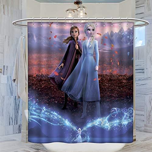 AFGGOL Duschvorhang aus Polyester, Anime-Film, Elsa & Anna Prinzessin, wasserdicht, mit Haken, 183 x 183 cm