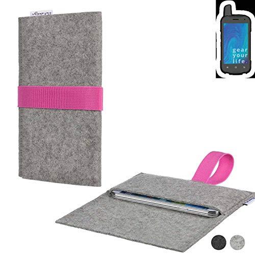 flat.design Handy Tasche Aveiro für Ruggear RG720 handgefertig in Deutschland Sleeve Hülle Etui Filz hellgrau rosa