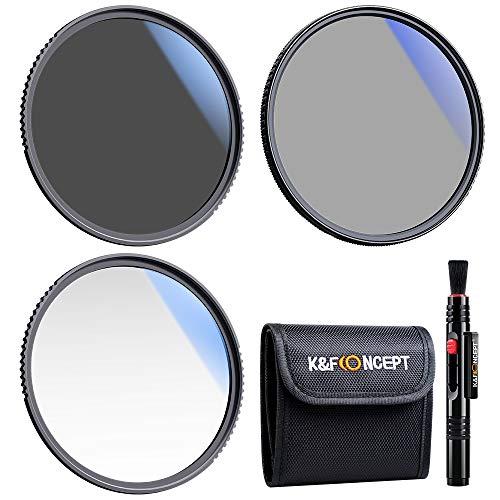 K&F Concept Kit di Filtri UV/CPL/ND per Obiettivo da 77 mm (3 Pezzi), Filtro UV + Polarizzatore Filtro + Filtri a Densità Neutra (ND4) + Penna di Pulizia + Tasca per Filtro