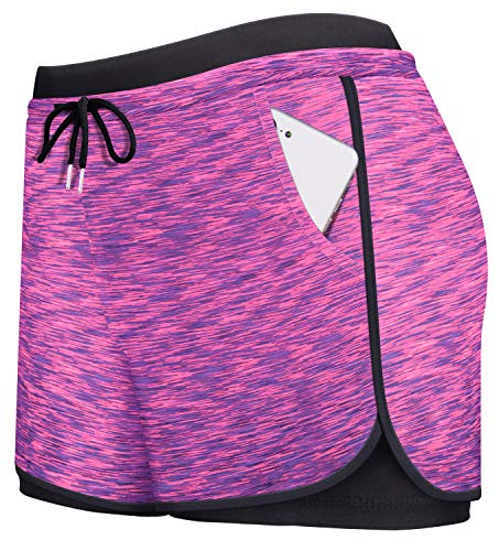 Tennis Shorts,Cucuchy Women Yoga Short Pants for Teen Girls Comfy Gym Shorts with Tights Ladies Fitness Climbing Workout Loungewear Great with Sports Tank Tops Rosy Medium
