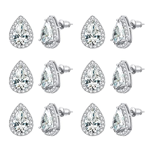 DHQH 4/6 Pairs Bridesmaids Earrings Classic Cubic Zirconia Teardrop Stud Earrings for Women Girls I Couldn't Tie a Knot Without You Brides Bridesmaids Proposal Wedding Jewelry Gifts