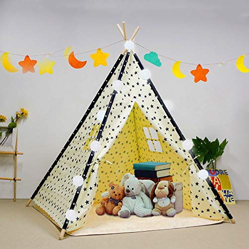 Arkmiido Teepee Tent for Kids Foldable Play Tent for Boys and Girls with Plush Mat Playhouse for Kids Indoor and Outdoor (Creamy White)