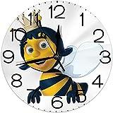 ALLdelete# Wall Clock Decoración de hogar con Reloj de Pared Redondo, Queen Bee, Corona de Abeja Reina 3D construida digitalmente, Madre de Colonia, Sepia Azul Real Tierra Amarilla