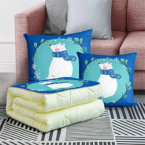 Manta de viaje 2 en 1 para cojín de viaje, manta de avión, manta cálida para descanso, coche, oficina, hogar, dormir siesta, manta de viaje (gato azul)