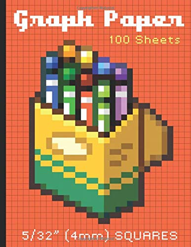 "Graph paper 100 sheets  5/32"" (4mm) SQUARES: Notebook diary and journal (Graphic Arts)"