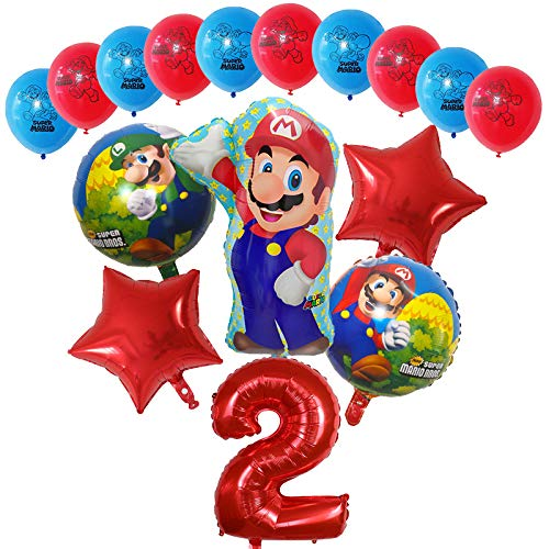 Globos 16pcs Dibujos animados Super Mario Luigi Bros Bloons Set 12inch Latex 30 pulgadas Número Globo Decoraciones de fiesta de cumpleaños Decoraciones para niños Regalo ( Color : Red number 2 set )
