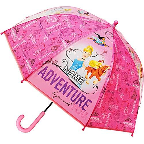 alles-meine.de GmbH 2 Stück _ Regenschirm / Kinderschirm -  Disney Princess - Prinzessin  - inkl. Name - Ø 73 cm - Kinder Stockschirm - für Mädchen - Folie Folienschirm - Schir..