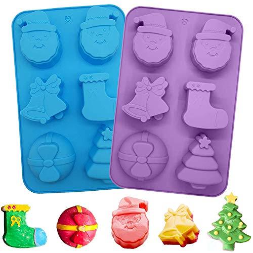 SUNSK Noël Moules en Silicone pour chocolats Moule à Biscuit Antiadhésif Moule Gateau de Noel Moules Silicone pour Bonbons durs ou gommeux sur le thème de Noël 2 pièce