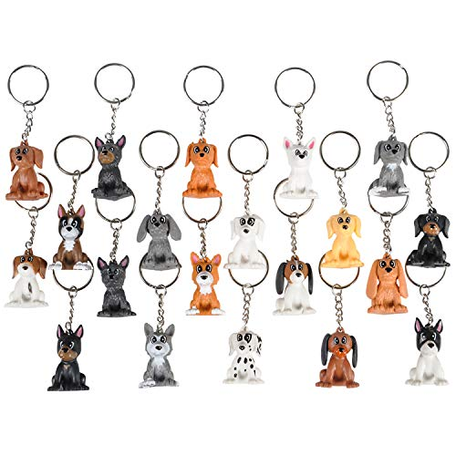 Kicko 1.5 Inch Puppy Keychain - 20 Pack Mini Backpack Hook - Keyring for Bag and Belt Loop Accessory, Back to School Item, Arts and Crafts, Animal Clinic Decor, Party Favors