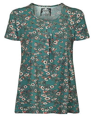 Elegante Tunika, Bluse für Damen Eco-Bamboo, nachhaltig, antiallergen und atmunsaktiv (M/38, Türkis)