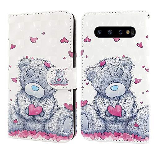 Ailisi Samsung Galaxy S10 Hülle Teddy Bear 3D Muster Handyhülle Schutzhülle PU Leder Wallet Case Flip Case Klapphüllen Brieftasche Ledertasche Tasche Etui im Bookstyle