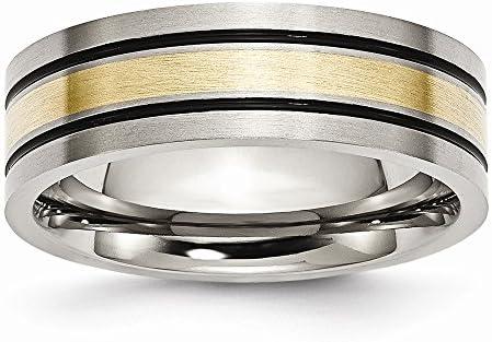 ICE CARATS Titanium Brushed 14k Yellow Inlay 7mm Flat Wedding Ring Band Size 8 50 Precious Metal product image