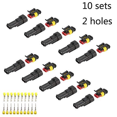 Fafada 10 Kit 2 Pin Connettore Elettrico Plug impermeabile per Auto e Camion