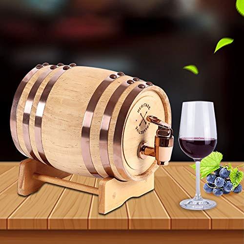 YANGUANG Barril de Vino Barril de Roble, Madera Dispensador de Barril de Vino Cubo de Almacenamiento Barriles de Cerveza, for Almacenamiento Whisky Bourbon Tequila Vino (Color : A, Size : 5L)