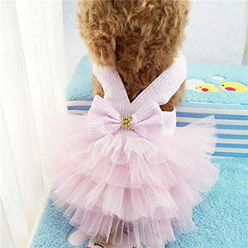 FXC Sling Dog Dress Summer Dog Lace Tullle Dress Ropa para mascotas para Perros pequeños Fiesta de cumpleaños Boda Bowknot Dress Puppy Costume, Stripe Pink, S