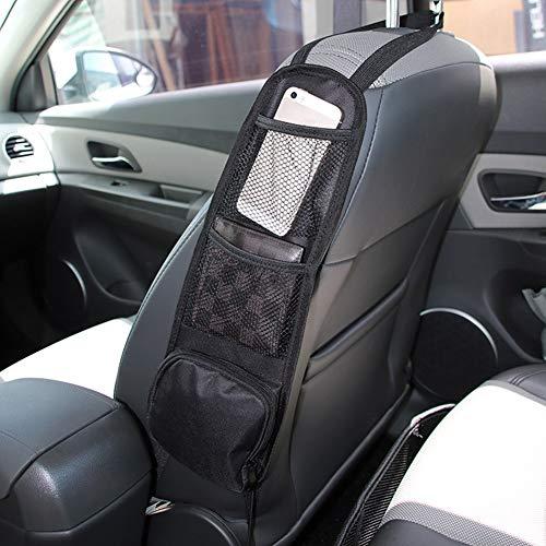 XunHe Auto-Organizer, 42 cm, Aufbewahrungstasche für den Autositz, Netz, 3 Taschen, Auto-Zubehör, Organizer, Geldbörse, Telefon, einfache Installation, Netztasche, passend für alle Fahrzeuge, LKWs