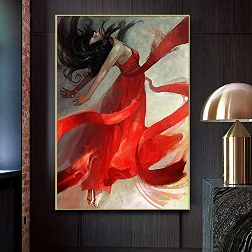 wZUN Carteles y Grabados de Retratos escandinavos. Imágenes de Pintura al óleo de Bailarina Sexy Impresas en la Pared de la Lona como decoración de la Sala de Estar 60x90 Sin Marco