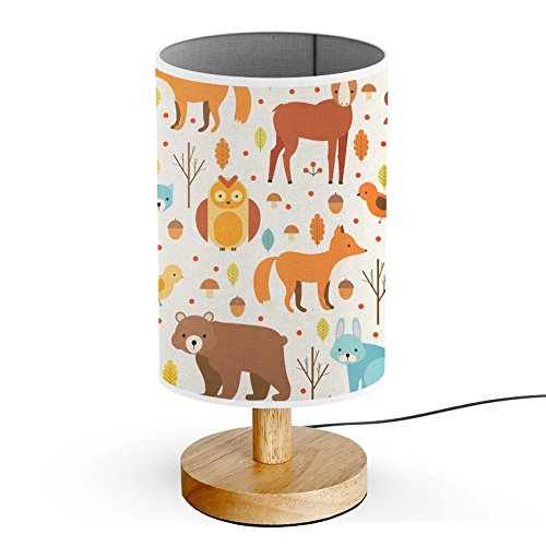 ArtLights - Wood Base Decoration Desk/Table/Bedside Lamp [ Forest Animals ]