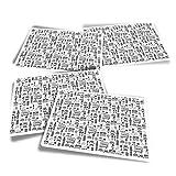 Pegatinas rectangulares de vinilo (juego de 4) – BW – London Icons England Tourist Bus Fun Calcomanías para portátiles, tabletas, equipaje, reserva de chatarra #36440