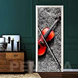 YIER LIFE™ 3D Türaufkleber Türtapete Türposter Türbilder Türfolie Musikinstrument Geige Kreative Ansicht Tür Aufkleber DIY Home Decor Decals Tapete Self Adhesive Wallpaper Auf Tür...