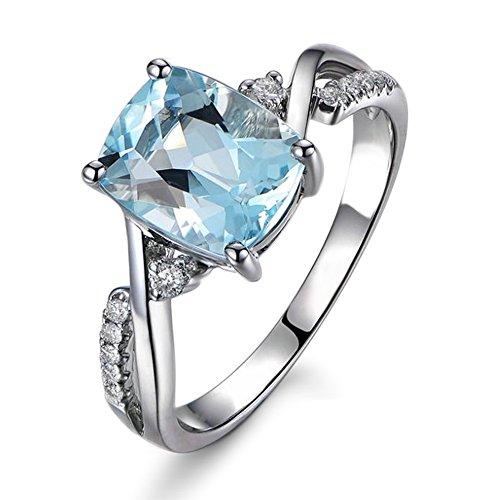 Réel 2.92 Carat Brésil Naturel Aigue-marine Or blanc 585/1000 (14 carats) Diamant Mars Pierre de naissance pour Femmes De mariage Bague