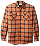 Wrangler Authentics Men's Long Sleeve Quilted Lined Flannel Shirt Jacket, Orangeade Tri Color Buffalo, X-Large
