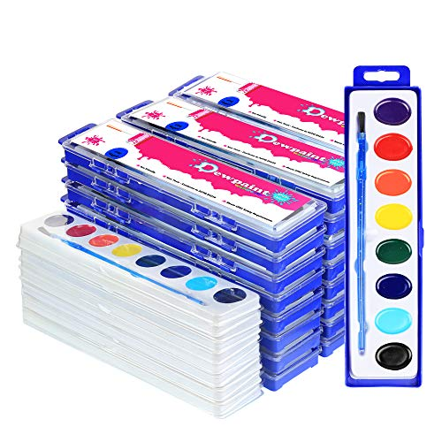 38 Bulk Water Color Oval Paints - 24 Sets and 14 Refills - Jumbo Pack - Washable