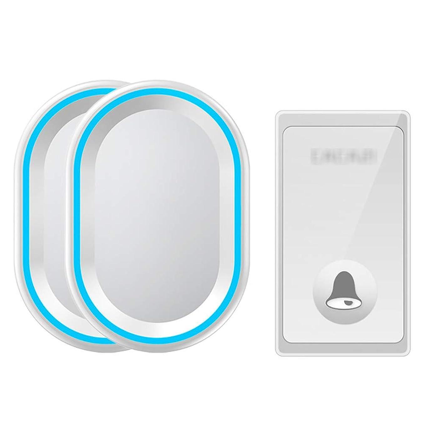 穴ストレンジャー不運セルフパワードワイヤレスドアベル,防水リモートコードレスドアベル、1ボタントランスミッター 58チャイム、4レベルボリューム、LEDライト付きの2つのプラグインレシーバー,白