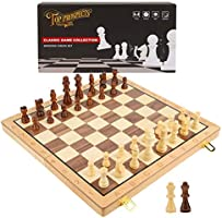Wooden Chess Set by TOP PROSPECTS™ - 39CM Folding Chess Board with Crafted Chess Piece - 2 Extra Queen