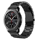 V-MORO Gear S3 Frontier/Gear S3 Classic Armband, Galaxy Watch 46mm Armband,Keine Lücke 22mm (Metall schwarz) Solider Edelstahl Metall Ersatz Bracelet Strap Band Uhrenarmband für Samsung Gear S3