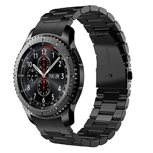 V-MORO Gear S3 Frontier/Gear S3 Classic Armband, Galaxy Watch 46mm (2019) Armband,Keine Lücke 22mm Solider Edelstahl Metall Ersatz Bracelet Strap Band Uhrenarmband für Samsung Gear S3 (schwarz)