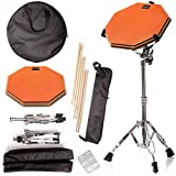 Practice Pad & Snare Stand Bundle - Drum Pad Double Sided with Drumsticks and Drum Stand for Four...