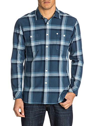 Quiksilver Boxfish - Chemise casual - Coupe large - Col classique - Manches longues - Homme - Bleu (Boxfish Washed Navy) - Small (Taille fabricant: S)